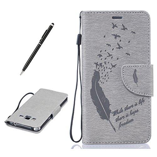 for Samsung Galaxy Grand Prime G530 PU Leder Hülle- Feder und Vogel-Grau