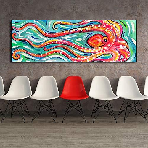 Neu Gerahmt (Handgemalte Abstrakt Rote Krake Leinwand Tiere Acrylmalerei ÖLgemäLde Familie Wohnzimmer Wand Dekoration Gemälde,NoFrame,70x140cm)