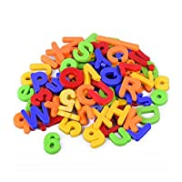 80 Piece Alphabet Magnets Set   ABC Learning Toys   Plastic Magnetic Letters & Numbers   Early Learning Toys for Letter, Number & Color Recognition   Upper & Lowercase Magnetic Letters by Boxiki Kids