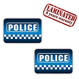 2 Stück Vinyl Aufkleber Autoaufkleber Stickers Police Polizei Auto Moto Motorrad Fahrrad Fenster Tür Tuning B 6