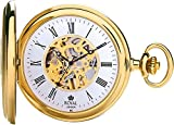 Royal London Gold Plated Half Hunter Mechanical Pocket Watch With Roman Numerals