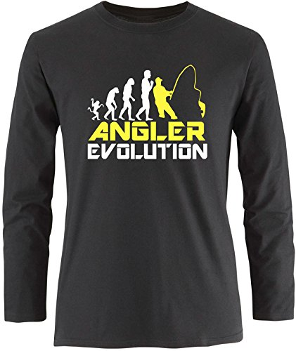 EZYshirt® Angler Evolution Herren Longsleeve Schwarz/Weiss/Gelb