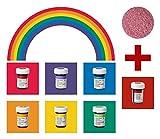 yagma Lebensmittelfarben im Spar-Set 6 x 28 g - Regenbogenmix plus BONUS: (Weihnachtsrot)