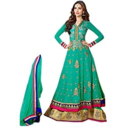 Clothfab Women Georgette Heavy Embroidery Work Pary Wear Anarkali Style Semi-Stitched Salwar Suit Dress Material With Dupatta (Green-Colour)