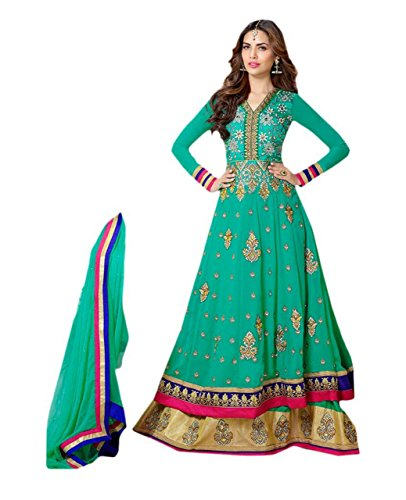 Clothfab Women Faux Georgette Heavy Embroidery Work Anarkali Semi-Stitched Party Wear Salwar...