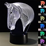 Tiscen Colorful 3D Illusion Visual Led Night Lights for Kids Touch USB Table Lampara Lamp Baby Sleeping Nightlight (Horse Head)