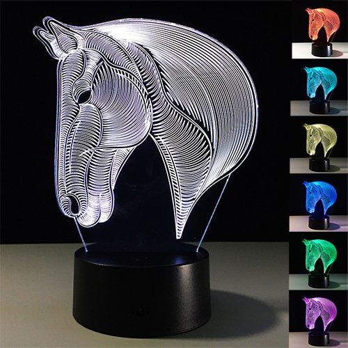 Leuchten Pferd (Pferd 3D Optische Illusions Lampe, Tiscen 7 Farbwechsel Acryl berühren Tabelle Schreibtisch Nachtlicht für Kinder Schlafzimmer Geburtstagsgeschenke)