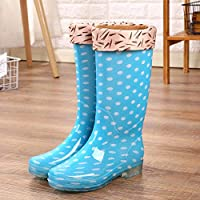lonfenner Rain Boots,Fashion Polka Dot Comfortable Waterproof Non-Slip Easy To Clean Ladies Blue Warm Middle Tube Rain Boots