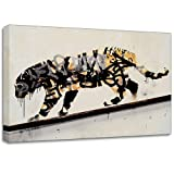 "Banksy Tiger Spray Small 12""x8"" Wall Graffiti Canvas Art Print Poster - WhatsOnYourWall - amazon.co.uk"