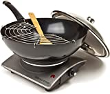 Andrew James 1500W Premium Electric Wok With Tempura Rack, Bamboo Spatula and Hot Plate