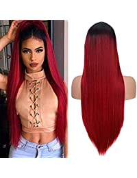 Perruque cosplay longue et droite pour femmes haute qualité mode rouge 24 pouces synthétique partie perruque du parti