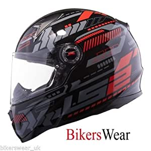 LS2 FF350 Tron Full Face Helmet with Mercury Visor (Black and Red, L)