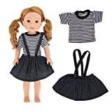 "Striped T-shirt & Shoulder Strap Miniskirt Set Doll Clothes Wardrobe Makeover Fits for 14"" 14.5"" American Girl Dolls Dollhouse"