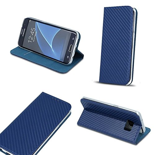 """BOOK CASE SMART MAGNET CARBON für Apple iPhone 6 Plus 5.5"""" iPhone 6 5.5"""" Cover Handy Tasche Flipcase Etui Buchform Kunststoff TPU Halterung für Kreditkarten (grau) dunkel blau"""