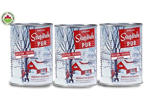 PRIX EN FETE - Pack de 3 Sirop d'érable Canadien 100% naturel-NOUVELLE RECOLTE- catégorie A ambré - Canadian Pure and Simple : 3 x 540ml