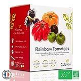 Cultivea Mini - Klaar om te groeien Kit Gekleurde Tomaten - 100% biologische zaden - Tuin en genieten - Cadeau-Idee (Zwarte zebra, Groene Zebra, Hawaiiaanse Pineaple, Runderenhart, Physalis Ixocarpa)