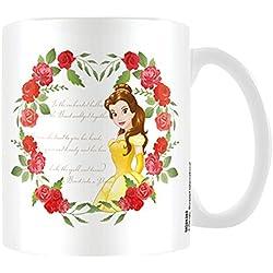 Taza de cerámica de la Bella y la Bestia rosas, multicolor.