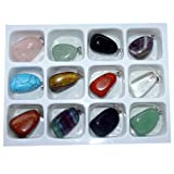 12 Stück Edelstein Anhänger Trommelsteine silberfarbene Öse ca. 20 x 10 mm z.B. Rosenquarz, Bergkristall, Amethyst u.a.(3176)