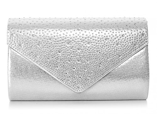 VINCENT PEREZ Damen Clutch Abendtasche Unterarmtasche Umhängetasche mit Strass-Steinen und abnehmbarer Kette in den Farben Silber Gold Altrosa (120 cm), 22 x 13 x 5,5 cm (B x H x T), Farbe:Silber