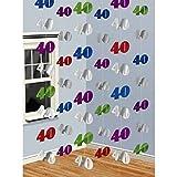 40e anniversaire guirlande chiffres 10 x 7 cm, Longueur 200 cm - déco intérieure - Jubilé - ribambelle d'anniversaire - 40 - déco d'anniversaire - décoration d'anniversaire...