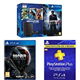 PlayStation 4 Slim (PS4) 1TB - Consola + Uncharted Collection + Uncharted 4 + Mass Effect: Andrómeda + PSN Plus Tarjeta 90 Días