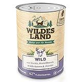 Wildes Land | Nr. 7 Wild | 6 x 400 g | mit Kürbis, Preiselbeeren, Wildkräutern & Distelöl | Glutenfrei | Extra viel Fleisch | Nassfutter für alle Hunderassen | Beste Akzeptanz und Verträglichkeit | Rohstoffe aus der Lebensmittelproduktion