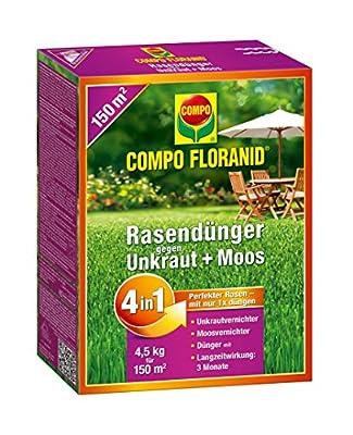 COMPO FLORANID® Rasendünger gegen Unkraut+Moos 4in1, perfekt Absgestimmte Rasenpflege mit zuverlässiger Unkraut- und Moosvernichtung,