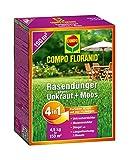 COMPO FLORANID Rasendünger gegen Unkraut+Moos 4in1, perfekt Absgestimmte Rasenpflege mit zuverlässiger Unkraut- und Moosvernichtung, 4,5 kg für 150 m