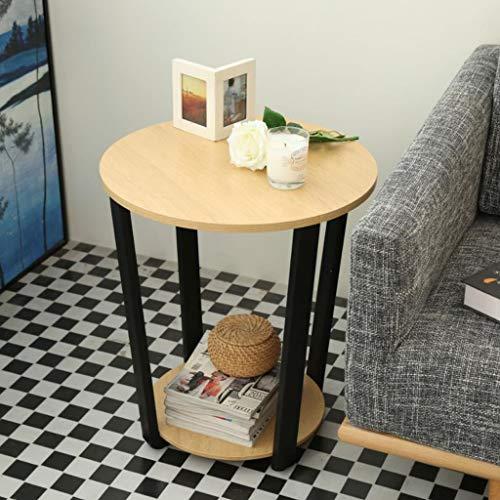 M-JH Table d'appoint, Côté de canapé de Table Basse de Balcon en Bois côté Petit Sofa Rond Multifonctionnel, 50 * 50 * 57 cm (Couleur : Le Jaune)