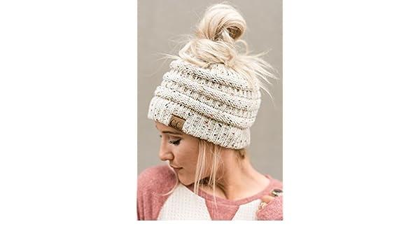 b1d0cd77dc695c Three Bird Nest Messy Bun Beanie Hat - Ponytail Knitted Hat In Confetti  Ivory: Amazon.co.uk: Clothing