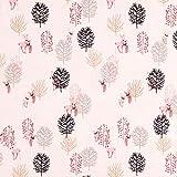 Fabulous Fabrics Alpenfleece Rehe im Wald – rosa — Meterware ab 0,5m — zum Nähen von Kinderbekleidung und Sweatshirts