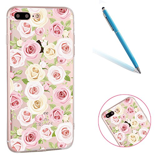 Super Clear Protettore Custodia in Soft TPU Silicone per Apple iPhone 7Plus 5.5(NON iPhone 7 4.7), CLTPY Creativo Cute Cartone Animato Fiore Pattern Disegno Serie Ultra Sottile Leggero Flessibile Mo Bella Rosa