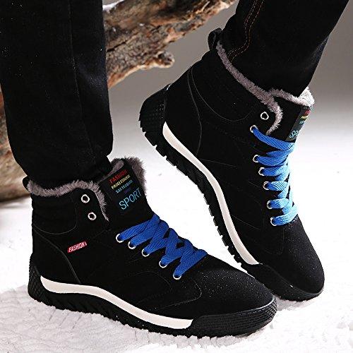 Sitaile Mens Scarpe Sportive In Pizzo Inverno Scarpe Casual Scarpe Casual Invernali Foderato Caldo Nero