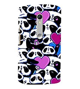 printtech Panda Heart Cute Gift Back Case Cover for Motorola Moto X Style