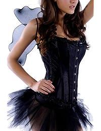r-dessous schwarzer Engel Tutu und Flügel Karneval Halloween Corsage