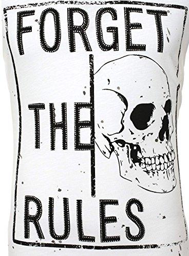 Redbrige Herren T-Shirt FORGET THE RULES Vintage Look Farbflecken mit Strasssteinen Totenkopf Skull Weiß