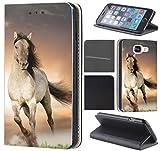 CoverHeld Hülle für Samsung Galaxy S4 Mini Premium Flipcover Schutzhülle aus Kunstleder Flip Case Motiv (1005 Pferd Braun Weiß Hengst)