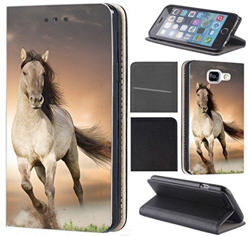 CoverFix Premium Hülle für Apple iPhone 7 Flip Cover Schutzhülle Kunstleder Flip Case Motiv (1005 Pferd Braun Weiß Hengst)