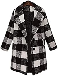 2c2a56c028c16c bauycy Mantel Frau Damen Große Größe Knit Langarm Plaid Tasche Wollmantel  Jacke Lässig Winter Button Pocket Damen Strickjacke Mantel…