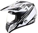 Qtech - Motocross-Helm mit Visier - für Offroad/Enduro/Touring Sport - Schwarz - M (57-58 cm)