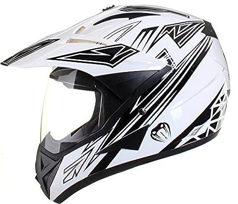 Qtech - Casque de moto/enduro/MX tout-terrain - idéal pour la route - Noir - XL (61-62 cm)