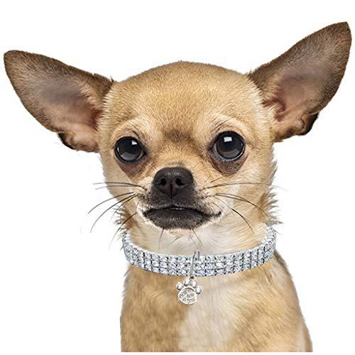 CAOQAO Benutzerdefinierte niedliche Rundhalsausschnitt Bling Strass Halsketten Phantasie Halskette Footprint Strass Halskette für Welpen Kleine Hunde und Katzen - 3 Farben - Größe 3