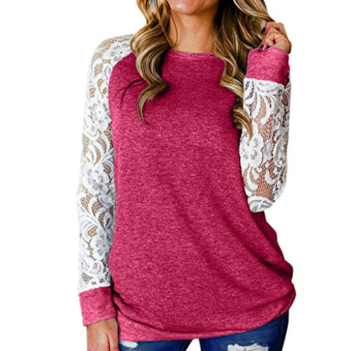 GOKOMO Frauen Lace Floral Spleißen Oansatz Langarm T-Shirt Bluse Tops(C,Large)