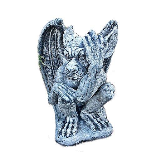 Steinfigur MYSTISCHER Gargoyle Drache Torwächter Teufel Steinguss Gartenfigur