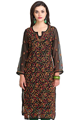 ADA Hand Embroidered Ethnic Casual Chikankari Straight Georgette Kurti A90314 (XX-Small)