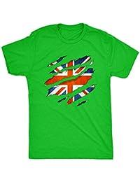 British Flag Inside t shirt torn through Mens T Shirt