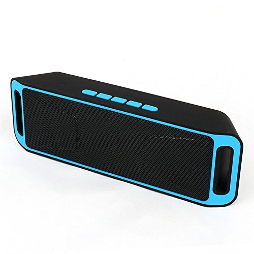 Veemoo Altavoz Estéreo Bluetooth Portátil Altavoces Con Radio FM Micrófono Puerto USB AUX Para iPhone Android Smartphone Tablet PC Ordenador MicroSD U disco y Dispositivos Bluetooth de Audio - Azul