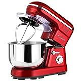 Nestling Küchenmaschine leistungsstarke Knetmaschine Geräuscharm 1200W (5-Geschwindigkeit 5 Liter Edelstahl) Spritzschutz, Inklusive Quirl, Knethaken & Schneebesen (Rot)