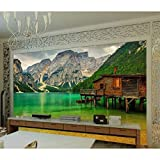 MSyikU Seidenwandbild 3D Wallpaper Benutzerdefinierte Wandbild Wandaufkleber 3D Holzhaus in der Nähe des Sees in Bergregionen Foto 3D Wall Murals Wallpaper,500cm*320cm