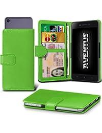 Aventus (Green) Motorola Moto E (3rd gen) Universal Case Etui Housse Wallet Spring Clamp Premium Pu Cuir Avec Caméra Slide, Titulaire De La Carte De La Fente Et Billets Pocket